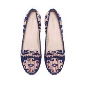 Zara Aztec Print Woven Flats